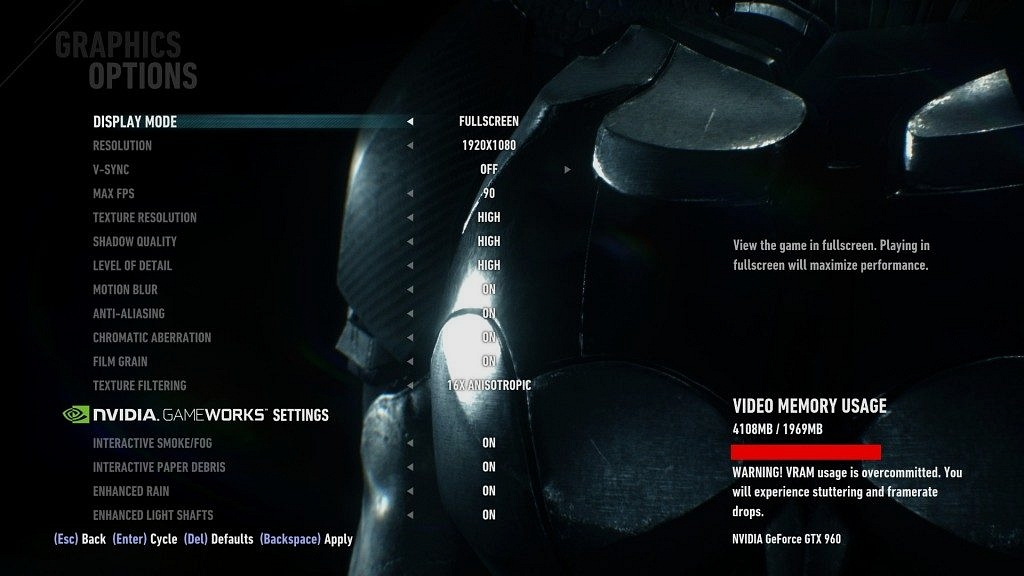 Batman Arkham Knight PC Settings