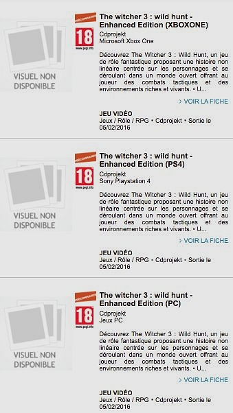 CD Projekt Red france shopping Witcher 3: Enhanced Edition