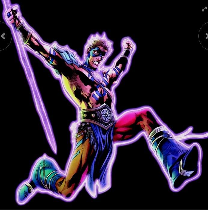 Blackest Night serisinde Indigo Lantern'in yüzüğünü takan Ray, Sword of Atom'daki barbar kostümünün parlayan hali ile karşımıza çıkıyor