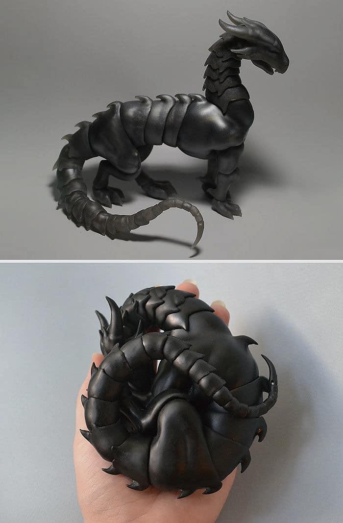 ejder şeklinde kıvrılabilir